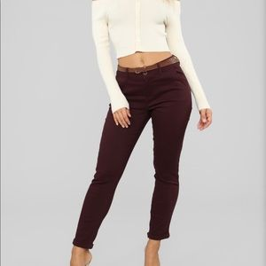 NWT Fashion Nova Plum Belted Pants Size L